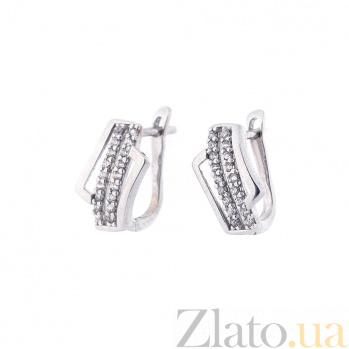 Серебряные серьги Сандра с фианитами 000080156