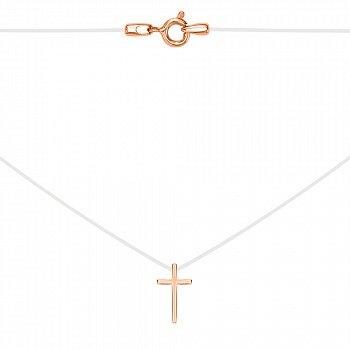 Колье на силиконовой нити с золотыми крестиком и замочком 000115624