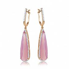 Золотые серьги-подвески Галадриэль с розовым халцедоном и фианитами