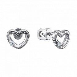 Серебряные серьги с бриллиантами 000127001