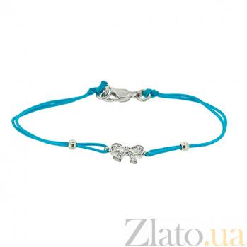 Шелковый браслет Бантик с серебряными вставками с цирконием ZMX--BCCz-00203-Ag_K