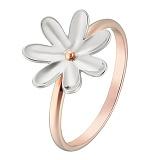 Кольцо в розовом и белом золоте Ромашка