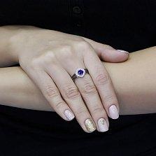 Серебряное кольцо Мануэла с синтезированным сапфиром, черными и белыми фианитами