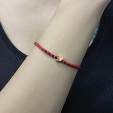 Крученый шелковый шнурок Любовь в красном цвете с сердечком и позолотой, 3мм