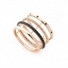 Золотое кольцо Тореа с фантазийной шинкой и черными фианитами