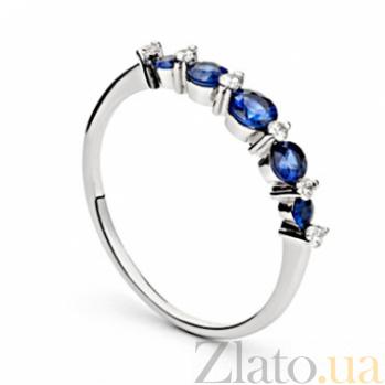 Кольцо из белого золота с сапфирами и бриллиантами Джемма 000030386