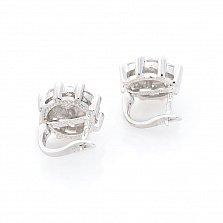 Серебряные серьги Лайза с жемчугом и фианитами