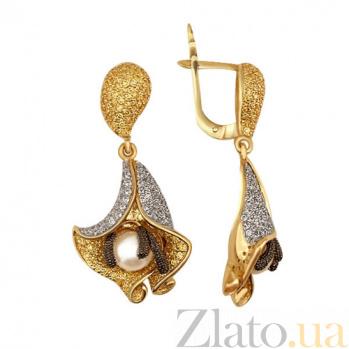 Серьги из желтого золота с жемчугом и цирконием Колокольчики VLT--ТТ292-1