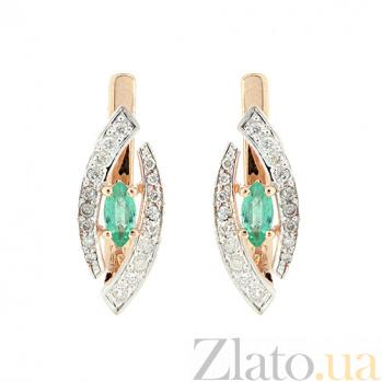 Золотые серьги с бриллиантами и изумрудами Лада ZMX--EE-6689_K