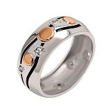 Серебряное кольцо с золотой вставкой и фианитами Соната