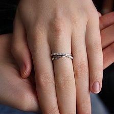 Золотое кольцо с бриллиантами в белом цвете Перекрестки