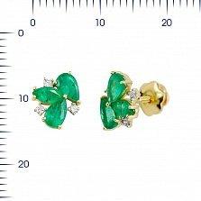 Серьги-пуссеты из желтого золота Фиона с изумрудами и бриллиантами