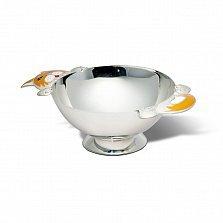 Серебряная тарелка Игривый котенок с эмалью