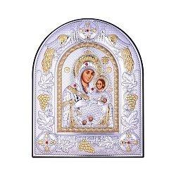 Посеребренная икона Богородица Казанская на подставке с красными кристаллами Swarovski 000131799