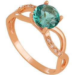 Золотое кольцо Мартина с синтезированным аметистом и фианитами