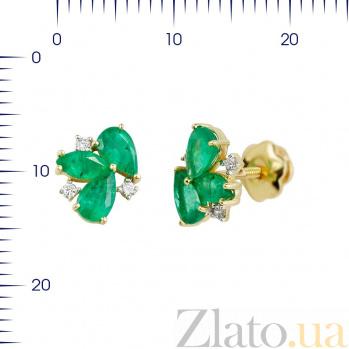 Серьги-пуссеты из желтого золота Фиона с изумрудами и бриллиантами 000081223