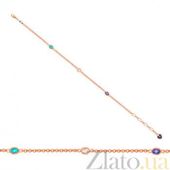 Золотой браслет Зарево с разноцветными фианитами VLT--Н552