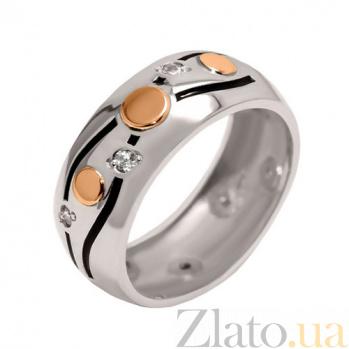 Серебряное кольцо с золотой вставкой и фианитами Соната BGS--604к