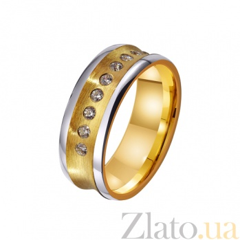 Золотое обручальное кольцо Источник радости с дорожкой из 9 фианитов TRF--4421674