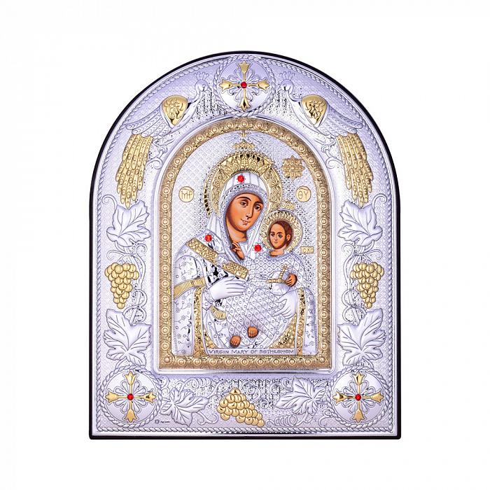 Посеребренная икона Богородица Казанская на подставке с красными кристаллами Swarovski 000131799 000131799