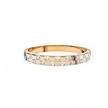 Золотое кольцо Шашки в красном цвете с бриллиантами