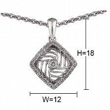 Кулон из белого золота Круговерть с бриллиантами