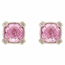 Серьги Ashkenazi с розовым кварцем