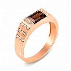 Перстень-печатка из красного золота с раухтопазом и фианитами 000134923