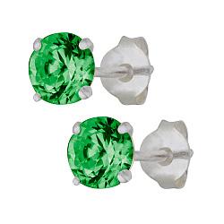 Серебряные cережки-пуссеты с зеленым цирконием Эсселта