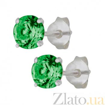 Серебряные cережки-пуссеты с зеленым цирконием Эсселта SLX--С2ФИ/603
