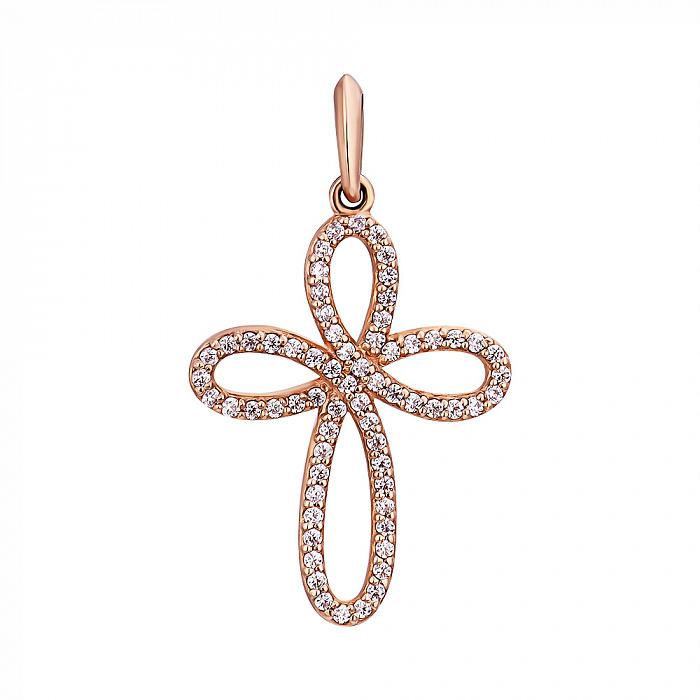 Декоративный крестик в красном золоте с фианитами 000053607 000053607
