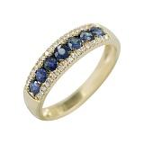 Золотое кольцо в желтом цвете с бриллиантами и сапфирами Аврора