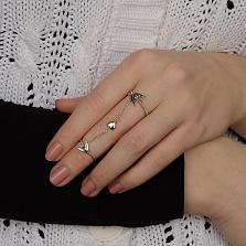 Серебряное кольцо Весна любви на две фаланги с соединяющей цепочкой и фигурками ласточек и сердца