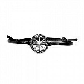 Кожаный браслет Compass Black с серебряной вставкой и чернением 000091321
