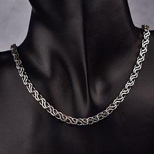 Серебряная цепочка Марко с чернением в фантазийном плетении, 5,5мм
