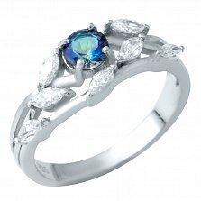 Серебряное кольцо Бьянка с топазом мистик и фианитами