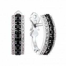 Золотые серьги в белом цвете с дорожками черных и белых бриллиантов 000126794