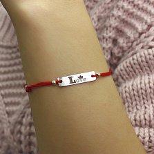 Шелковый браслет Love-crown в красном цвете с серебряной вставкой