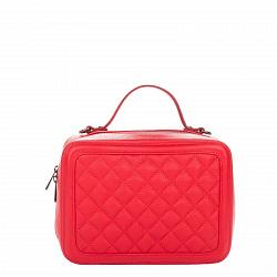 Кожаная деловая сумка Genuine Leather 8891 красного цвета с перекресной строчкой и съемным ремнем