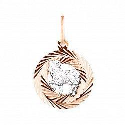 Золотая подвеска Овен в комбинированном цвете с алмазной гранью