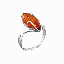Серебряное кольцо Медовый рассвет с имитацией янтаря