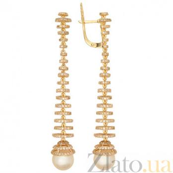 Золотые серьги с жемчугом и цирконием Дора VLT--ТТ2337