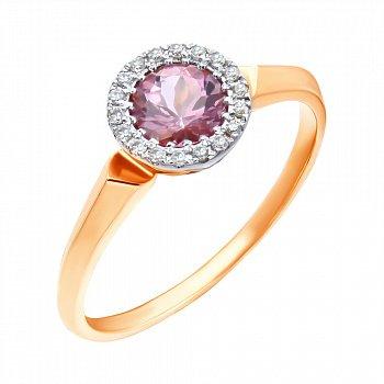 Золотое кольцо в комбинированном цвете с турмалином и бриллиантами 000139492