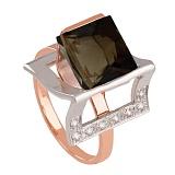Золотое кольцо Эпатаж с гидротермальным раухтопазом и фианитами