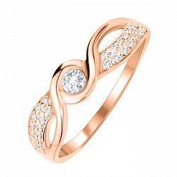 Кольцо из красного золота с фианитами 000104598
