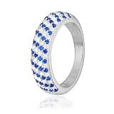 Серебряное кольцо с голубыми фианитами День и Ночь