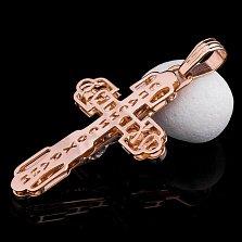 Золотой крестик Святое руководство с черной эмалью и фианитами