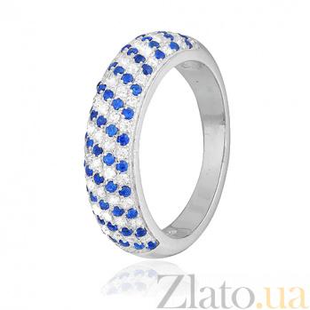 Серебряное кольцо с голубыми фианитами День и Ночь 000028166