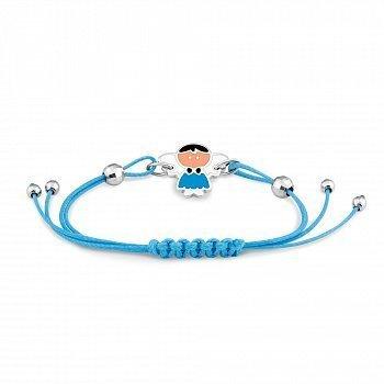 Детский шелковый браслет Ангелочек в голубом с серебряными элементами и разноцветной эмалью 00011434