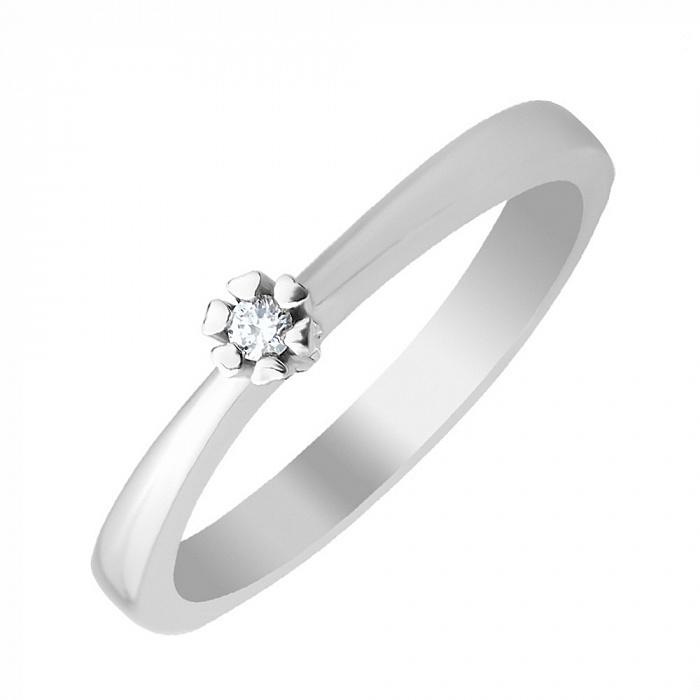Серебряное кольцо с бриллиантом 000131657